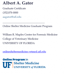 Visual display of the Email Signature for Shelter Medicine Students