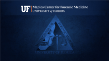 Zoom Virtual Background - Maples Center for Forensic Medicine with Maples Center Logo, Skull and Scales of Justice