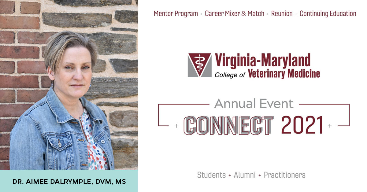 Dr. Aimee Dalrymple presenting at Virginia-Maryland College of Veterinary Medicine Annual Event Connect 2021